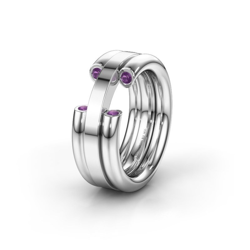 Wedding ring WH6018L 950 platinum amethyst ±8x3 mm