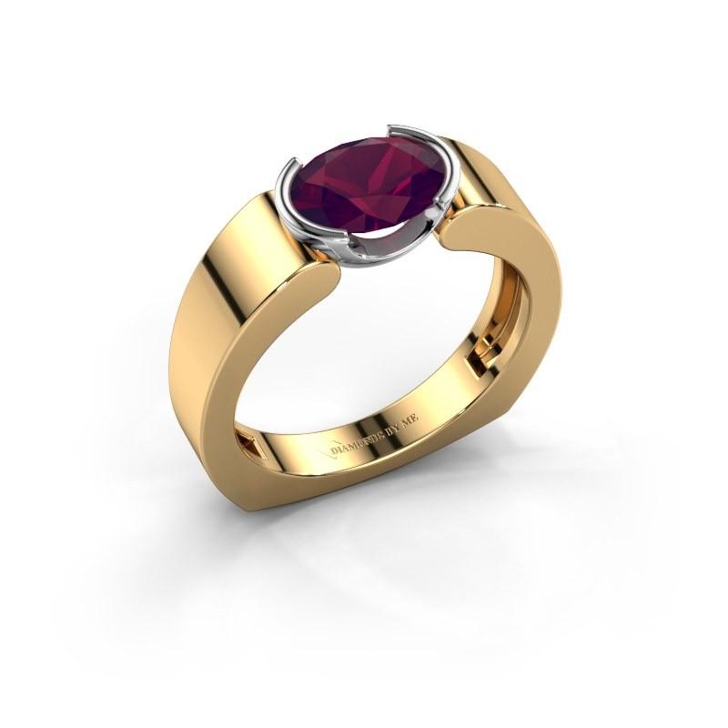 Ring Tonya 585 goud rhodoliet 8x6 mm