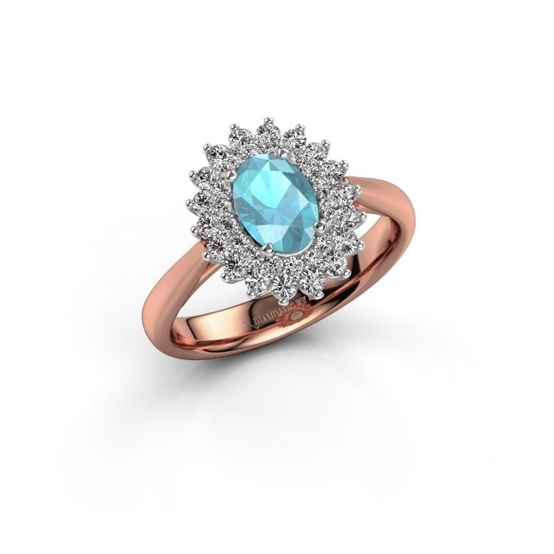 Engagement ring Alina 1 585 rose gold blue topaz 7x5 mm