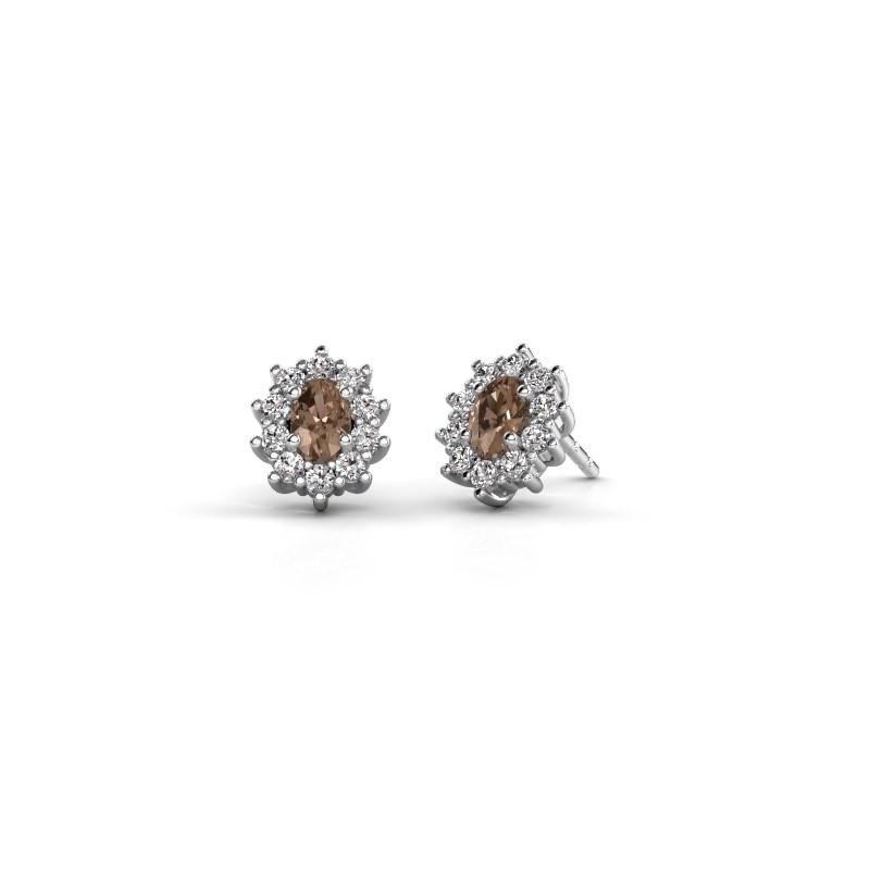 Oorbellen Leesa 585 witgoud bruine diamant 1.60 crt