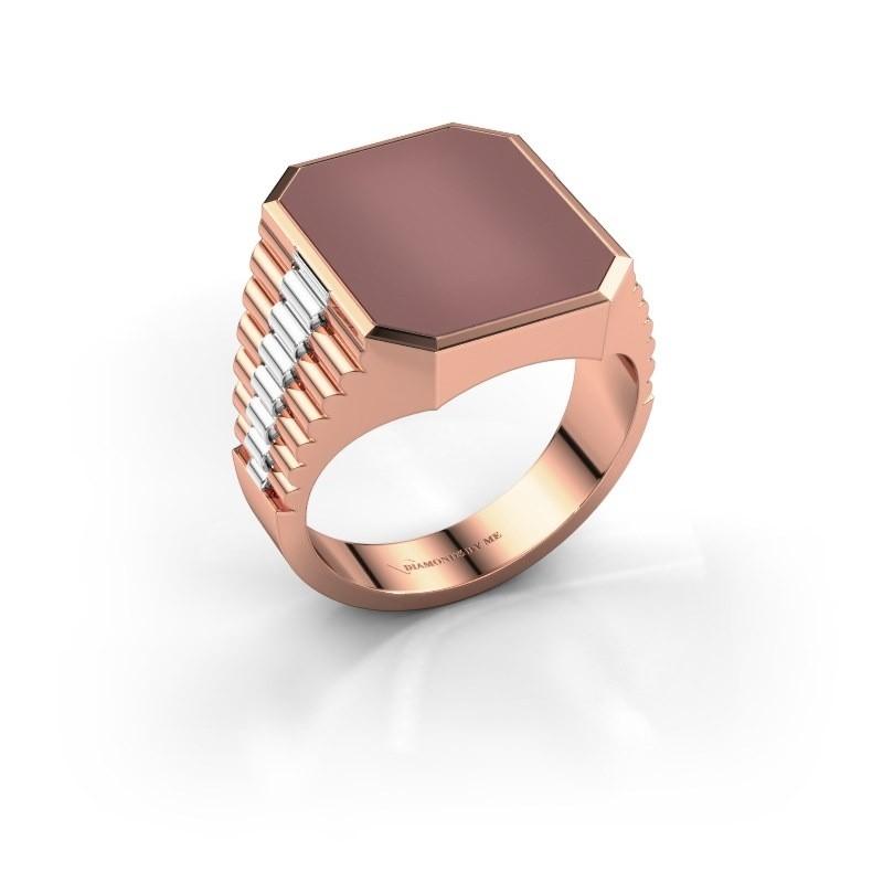 Rolex stijl ring Brent 4 585 rosé goud carneool 16x13 mm