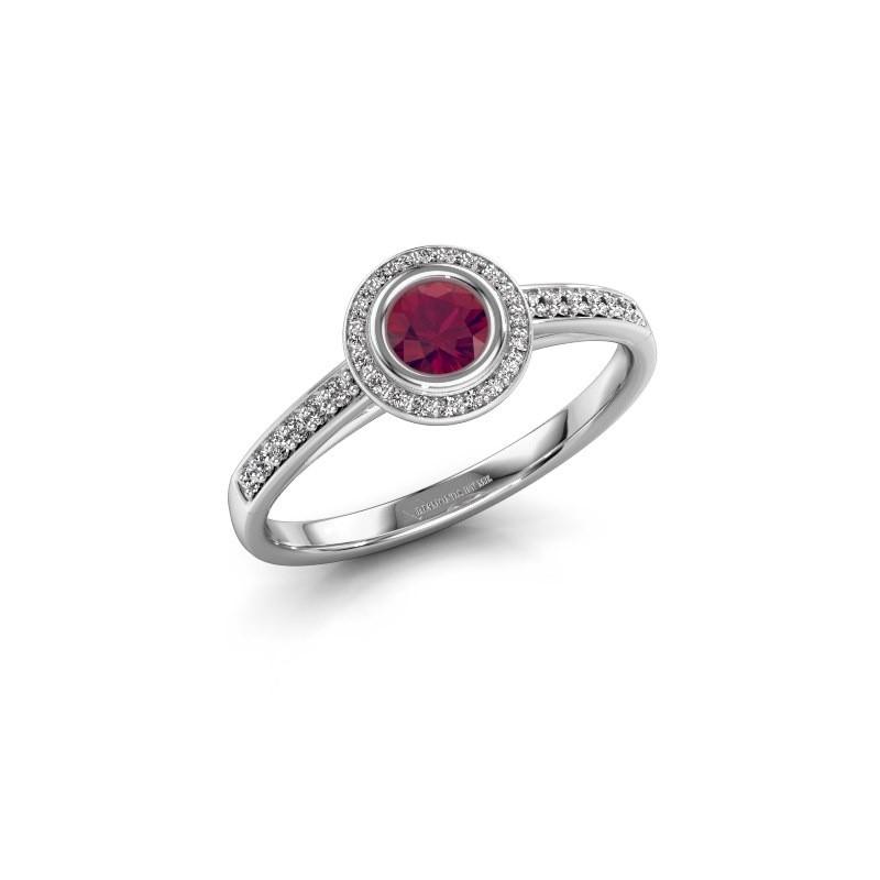 Engagement ring Noud 2 RND 585 white gold rhodolite 4 mm