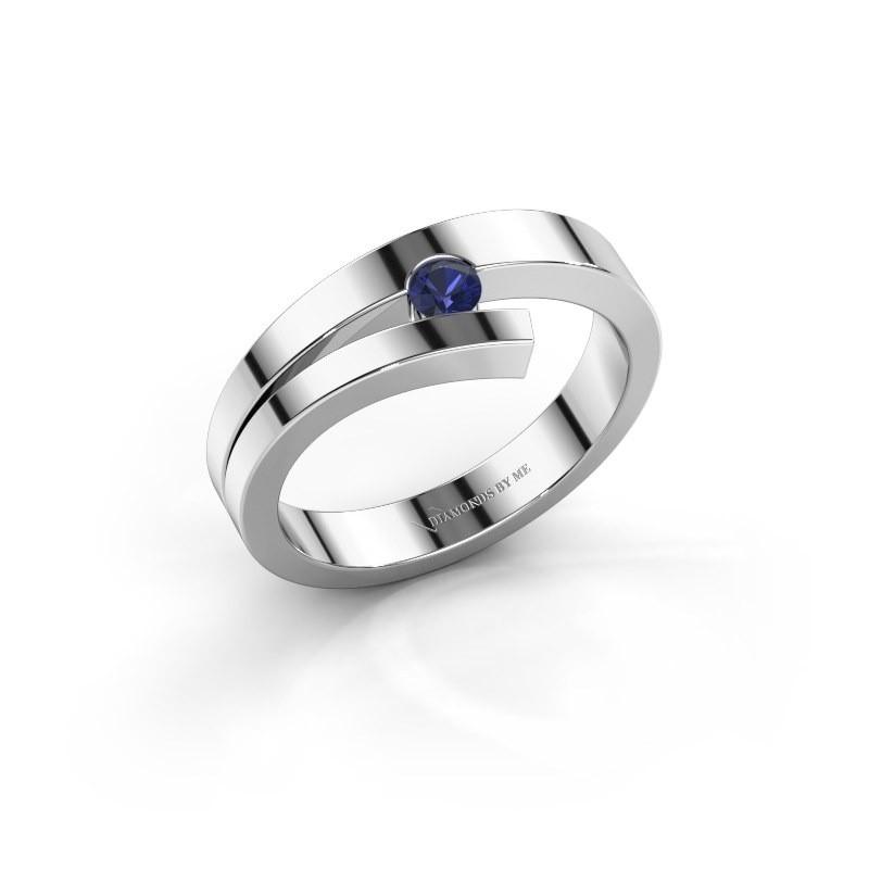 Ring Rosario 925 zilver saffier 3 mm