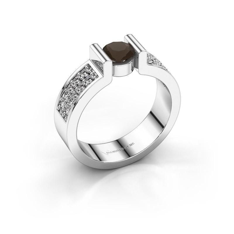 Engagement ring Isabel 3 950 platinum smokey quartz 5 mm