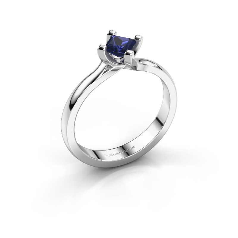 Engagement ring Dewi Square 925 silver sapphire 4 mm