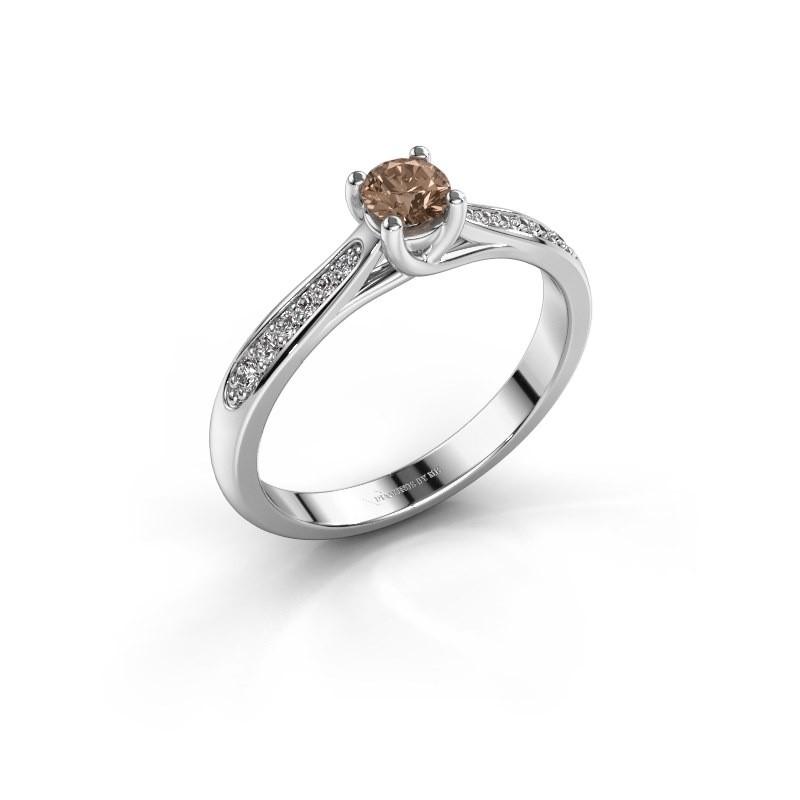 Verlovingsring Mia 2 925 zilver bruine diamant 0.30 crt