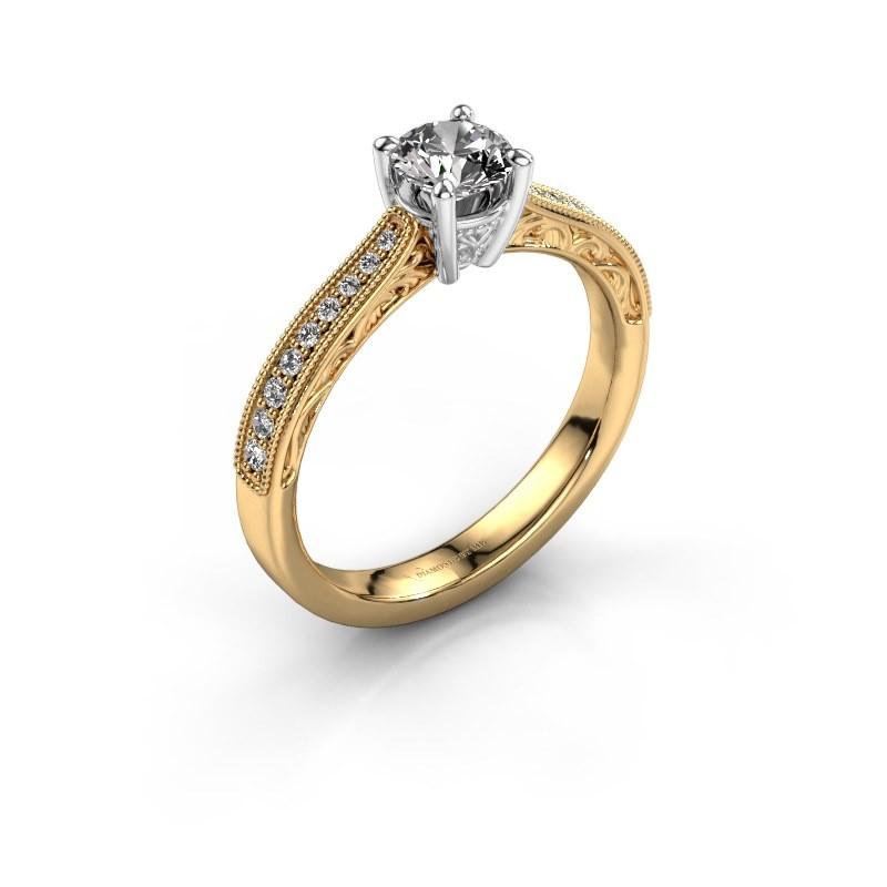 Bague de fiançailles Shonta RND 585 or jaune diamant 0.63 crt