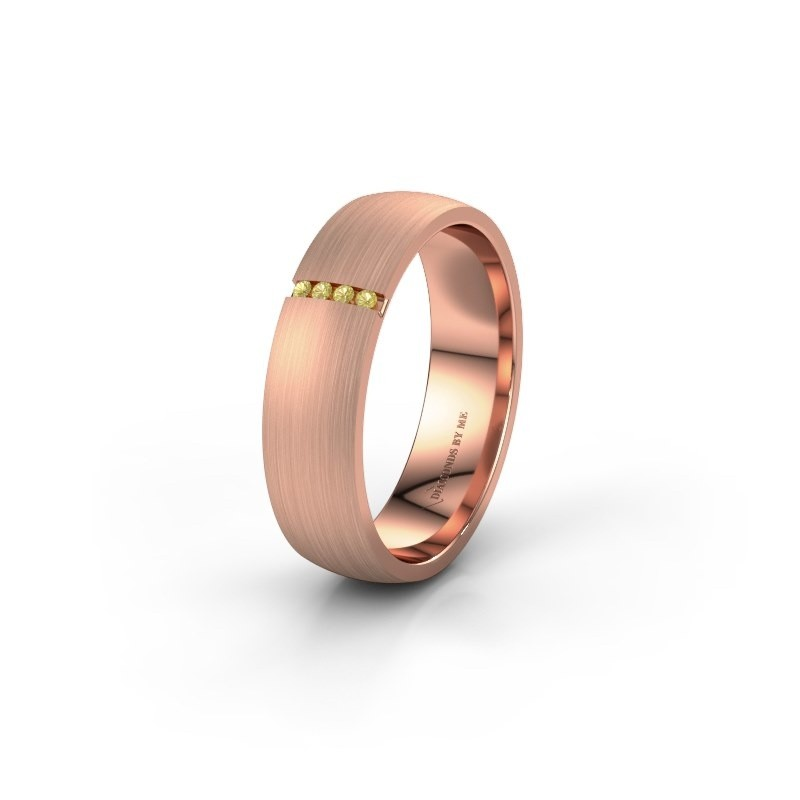 Wedding ring WH0154L25XM 375 rose gold yellow sapphire ±5x1.4 mm