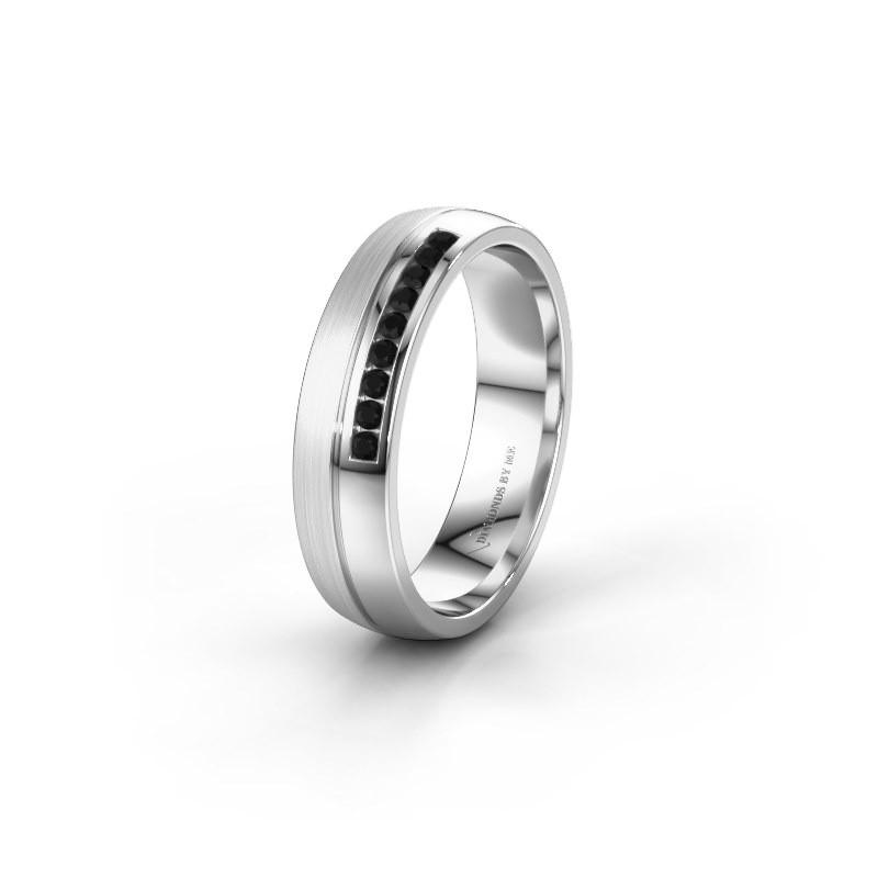 Wedding ring WH0209L25APM 950 platinum black diamond ±0.20x0.07 in