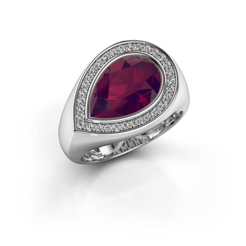 Ring Latashia 375 witgoud rhodoliet 12x8 mm