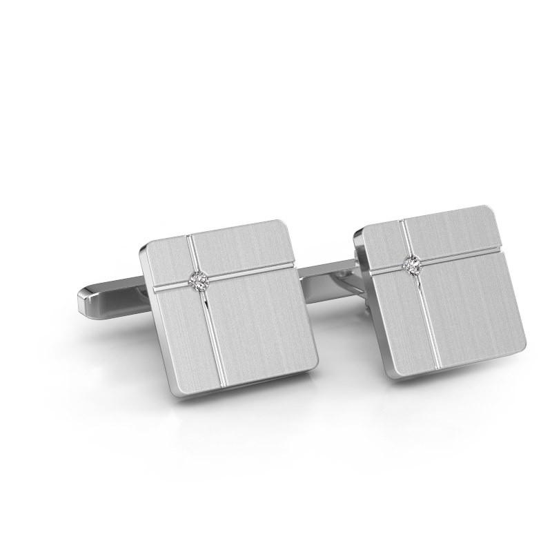 Manchetknopen Hilco 585 witgoud diamant 0.06 crt