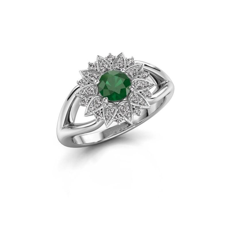 Verlovingsring Chasidy 1 585 witgoud smaragd 5 mm