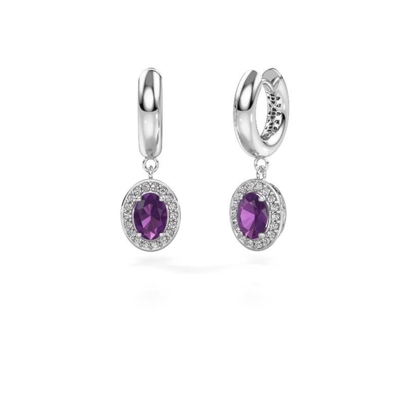Drop earrings Annett 375 white gold amethyst 7x5 mm