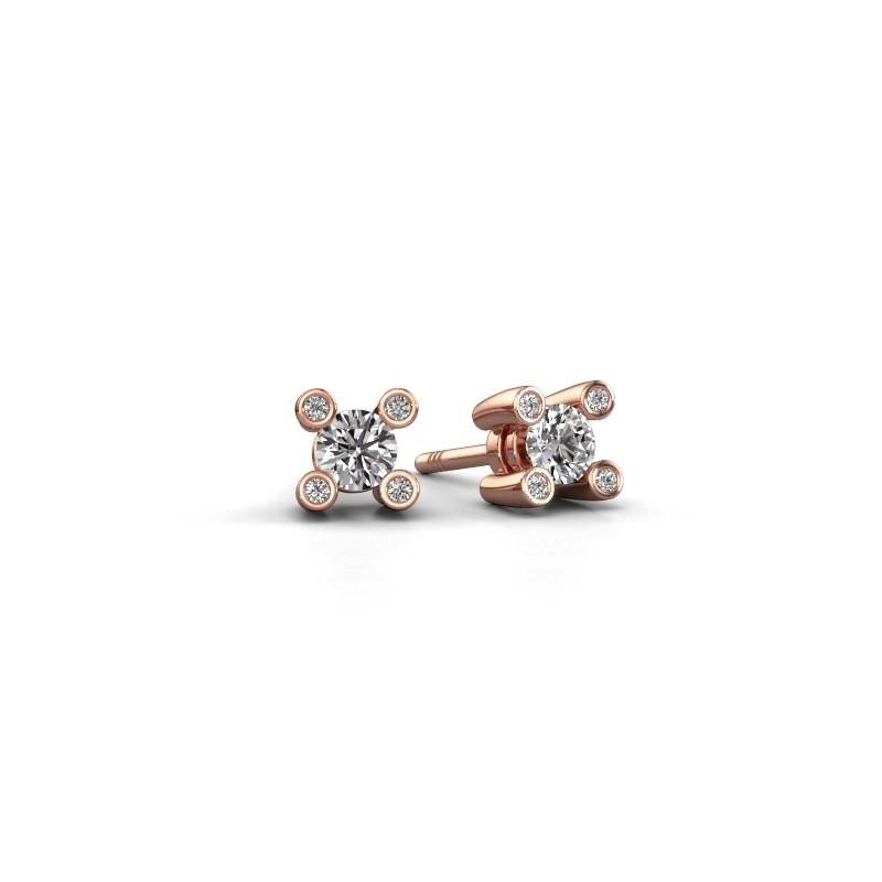 Fleur Oorknopjes Rose Goud Met Diamant Diamondsbyme