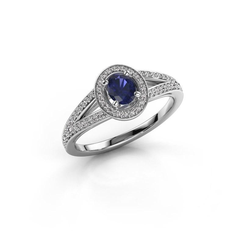 Verlovings ring Angelita OVL 950 platina saffier 6x4 mm