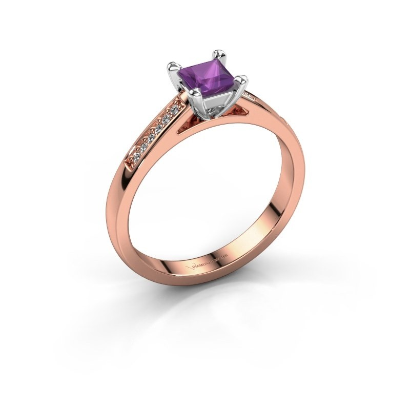 Engagement ring Nynke SQR 585 rose gold amethyst 4 mm