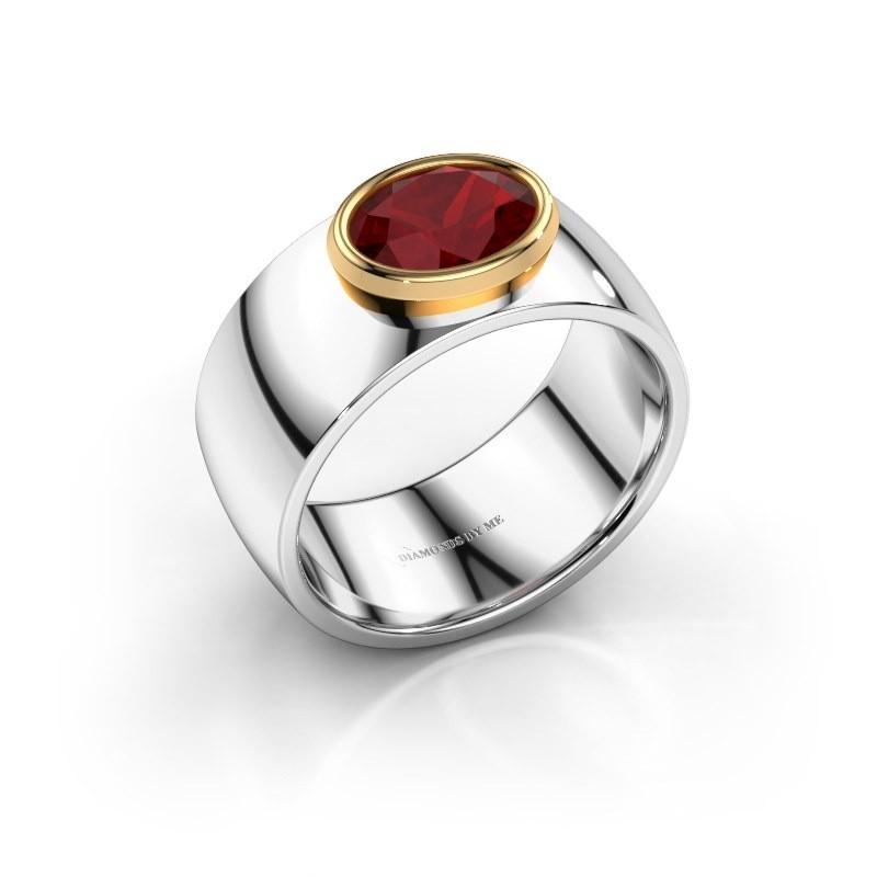 Ring Wilma 1 585 witgoud robijn 8x6 mm
