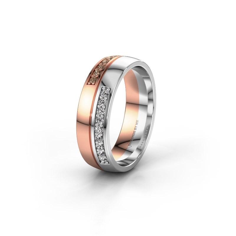 Wedding ring WH0213L26AP 585 rose gold brown diamond ±0.24x0.07 in