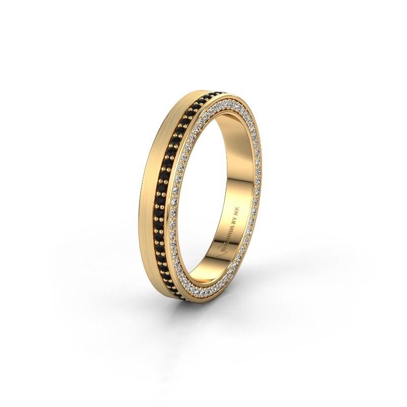 Wedding ring WH2214L15BM 375 gold black diamond 0.605 crt ±5x2 mm