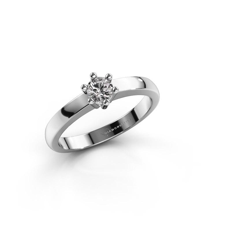 Verlobungsring Weissgold | Luna 1 Fein Verlobungsring Weissgold Zirkonia 3 7 Mm Handgefertigt
