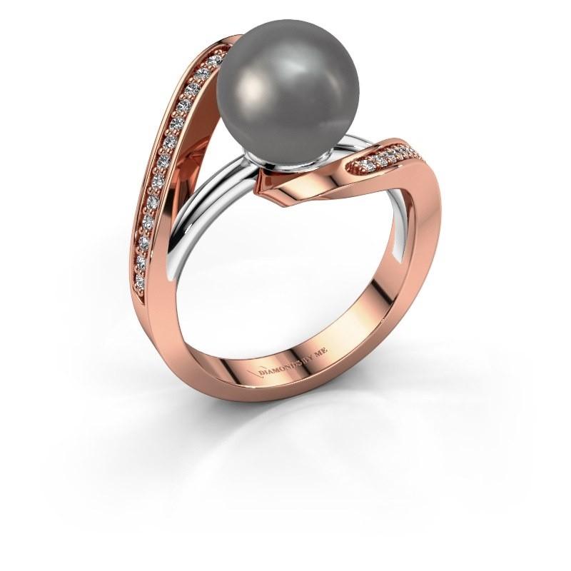 Ring Amber 585 rosé goud grijze parel 9 mm