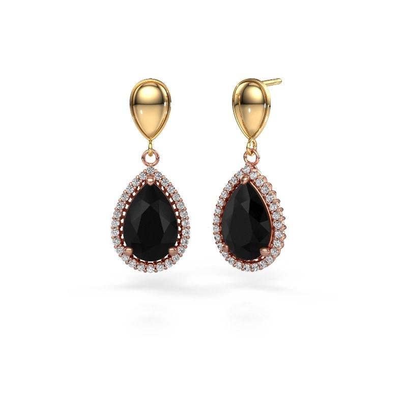 Oorhangers Tilly per 1 585 rosé goud zwarte diamant 7.62 crt