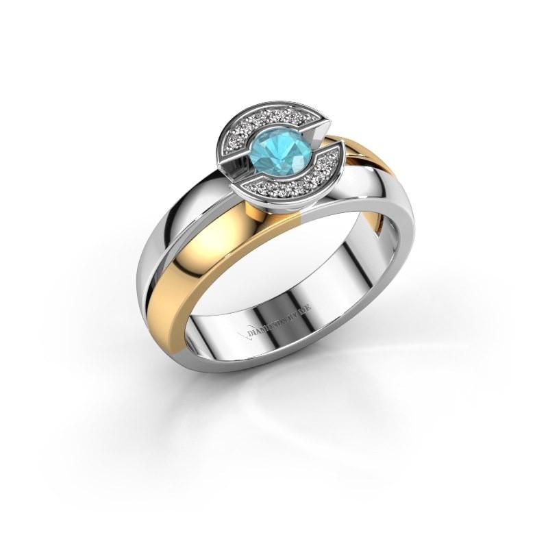 Ring Jeanet 1 585 goud blauw topaas 4 mm