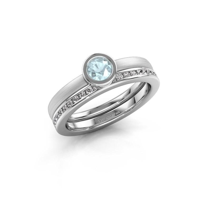 Ring Cara 950 platinum aquamarine 4 mm