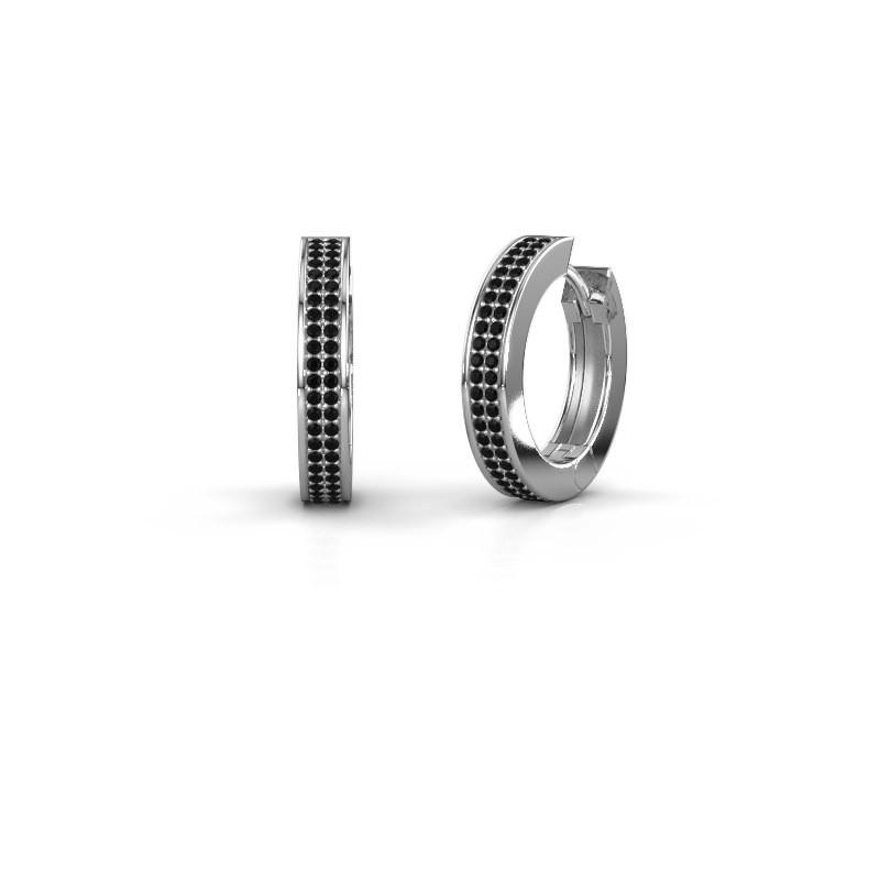 Creolen Renee 5 12 mm 925 zilver zwarte diamant 0.936 crt