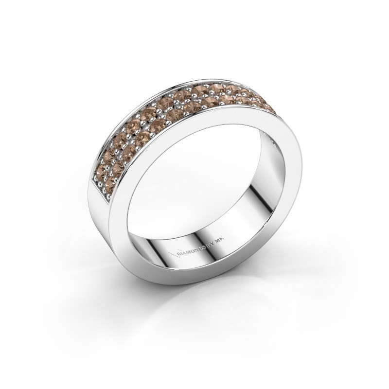 Stackable ring Catharina 6 585 white gold brown diamond 0.56 crt
