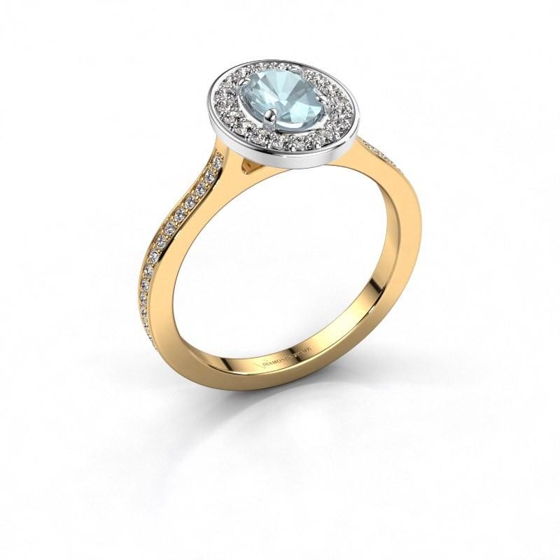 Ring Madelon 2 585 goud aquamarijn 7x5 mm
