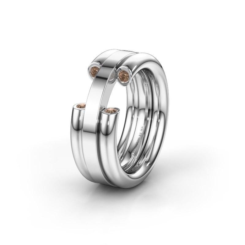 Trouwring WH6018L 950 platina bruine diamant ±8x3 mm