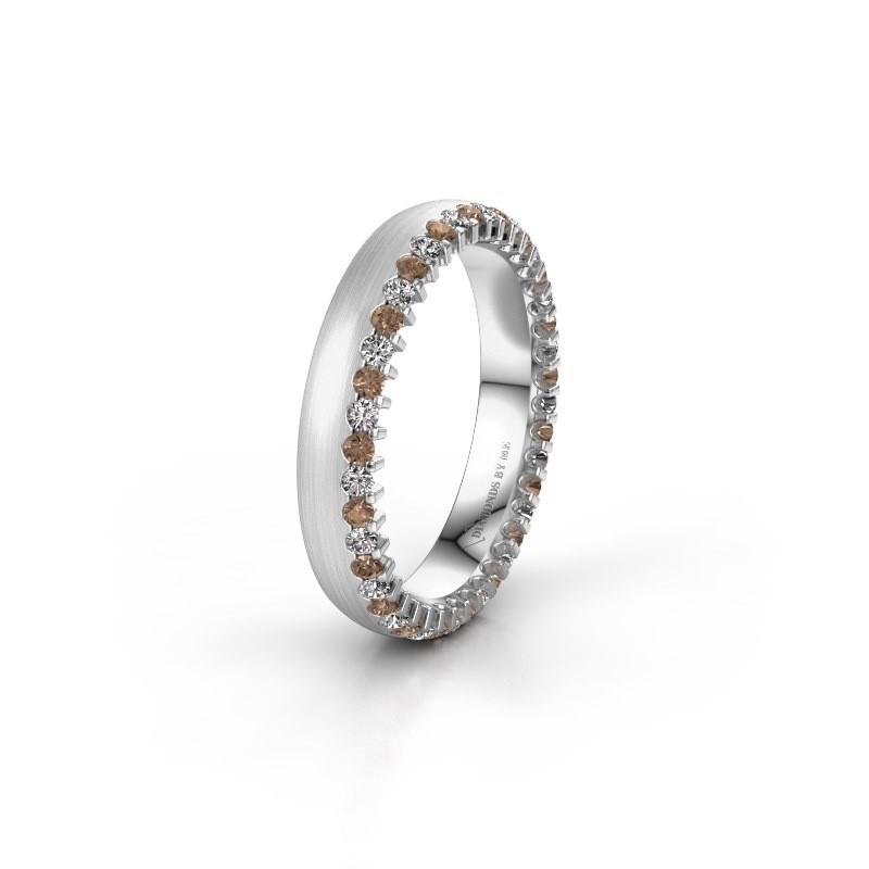 Trouwring WH2138L24B 950 platina bruine diamant ±4x2 mm