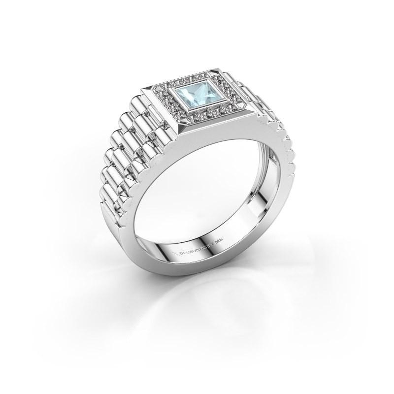 Heren ring Zilan 585 witgoud aquamarijn 4 mm