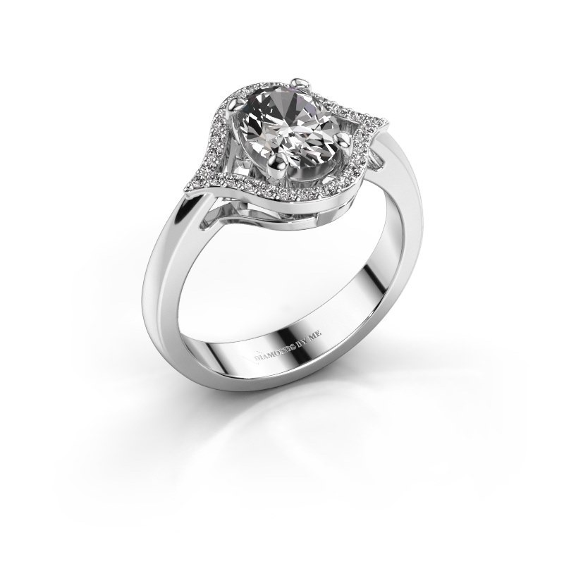 Ring Mendy 585 witgoud zirkonia 8x6 mm