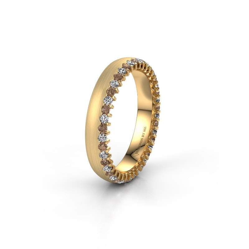 Trouwring WH2138L24B 375 goud bruine diamant ±4x2 mm