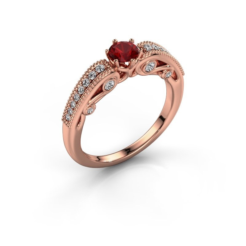 Engagement ring Christeen 375 rose gold ruby 4.2 mm