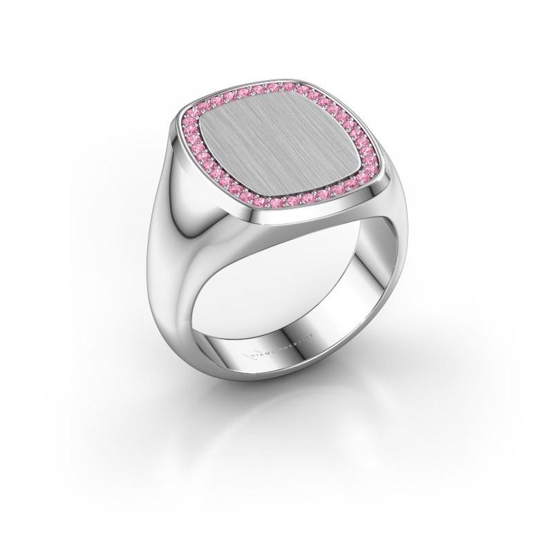 Heren ring Floris Cushion 4 925 zilver roze saffier 1.2 mm