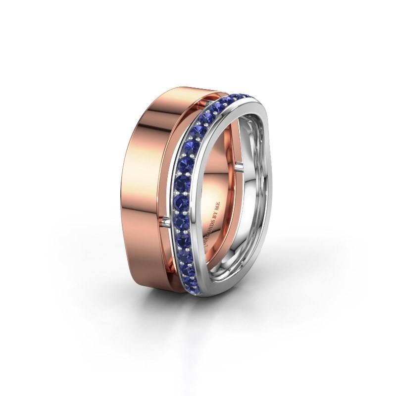 Huwelijksring WH6008L18BP 585 rosé goud saffier ±10x2 mm