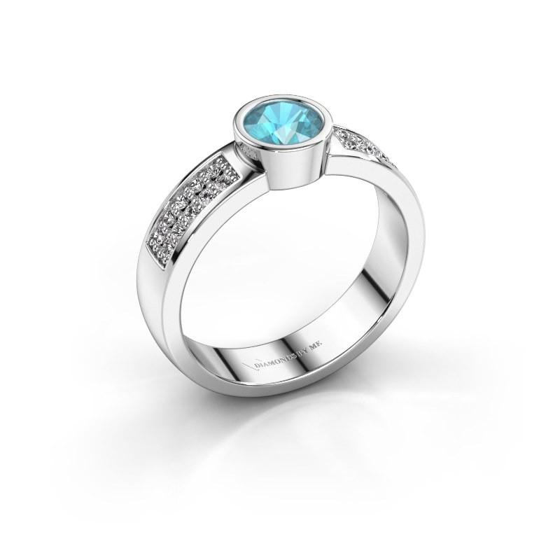 Verlovingsring Ise 3 585 witgoud blauw topaas 4.7 mm