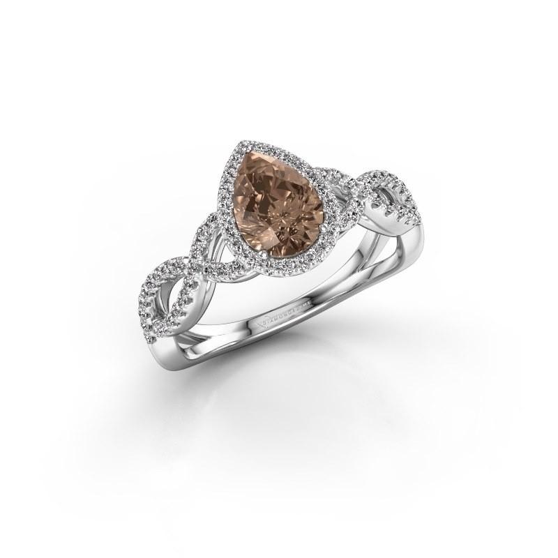 Verlovingsring Dionne pear 925 zilver bruine diamant 0.99 crt
