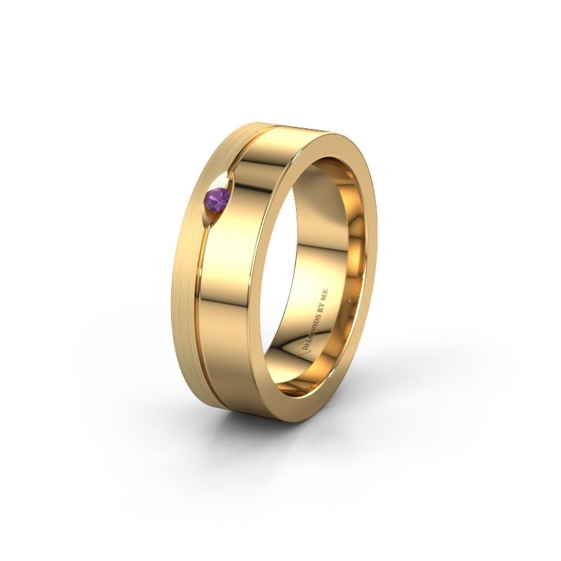 Trouwring WH0329L16B 585 goud amethist ±6x2 mm