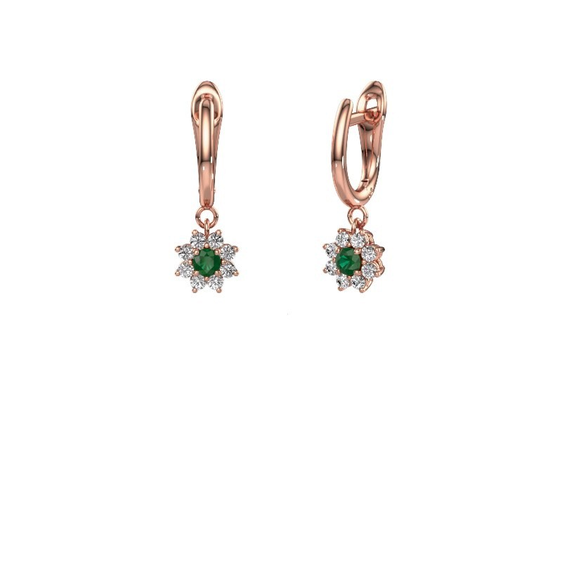 Drop earrings Camille 1 375 rose gold emerald 3 mm