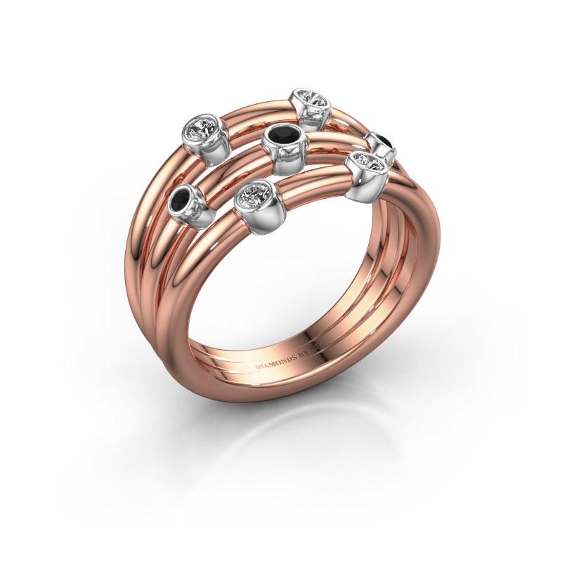 Bague Chloe 585 or rose diamant noir 0.192 crt