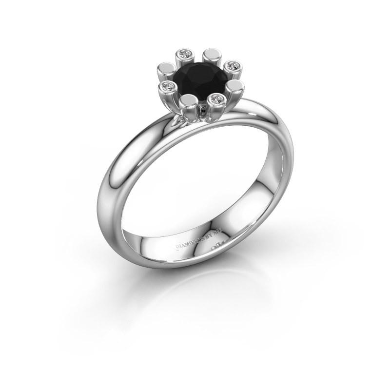 Stapelring Carola 2 925 zilver zwarte diamant 0.62 crt