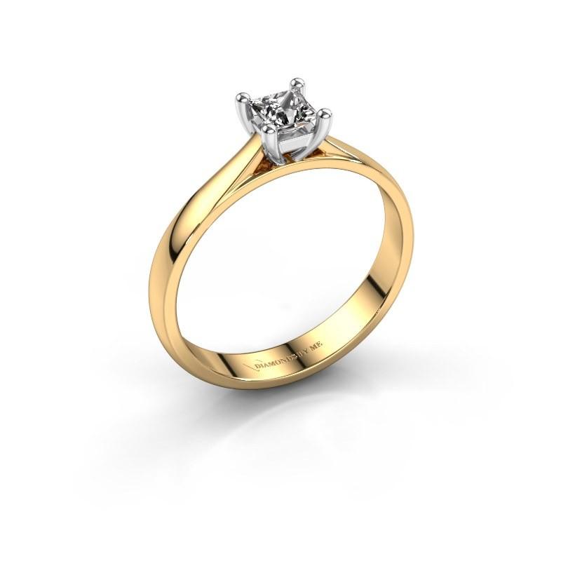 Engagement ring Sam Square 585 gold diamond 0.40 crt