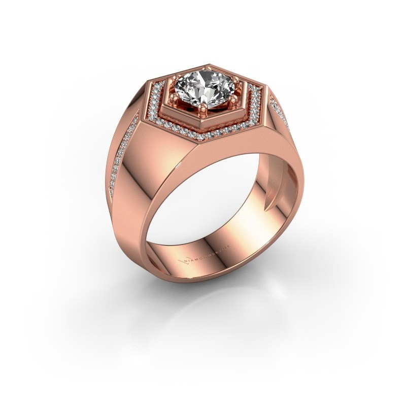 Men's ring Sjoerd 375 rose gold diamond 1.360 crt