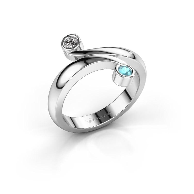 Ring Hilary 585 witgoud blauw topaas 2.5 mm
