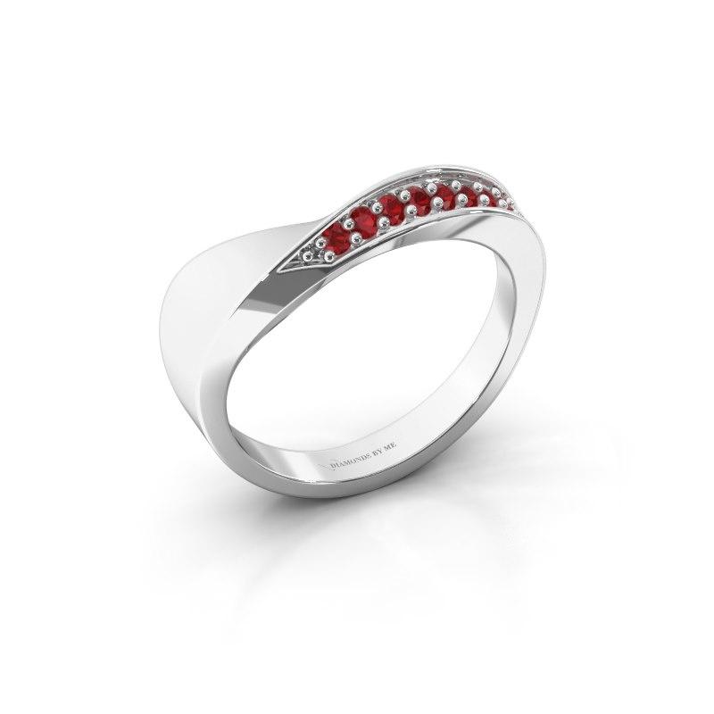 Ring Lynn 585 witgoud robijn 1.6 mm