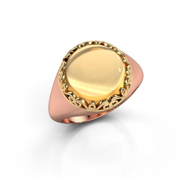 Ring Birgit 585 rosé goud citrien 12 mm